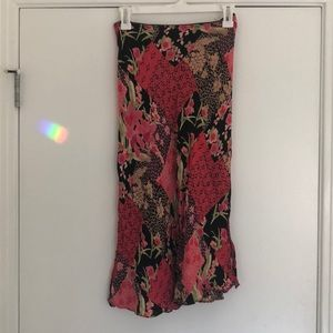 Black and Pink Floral Midi Skirt